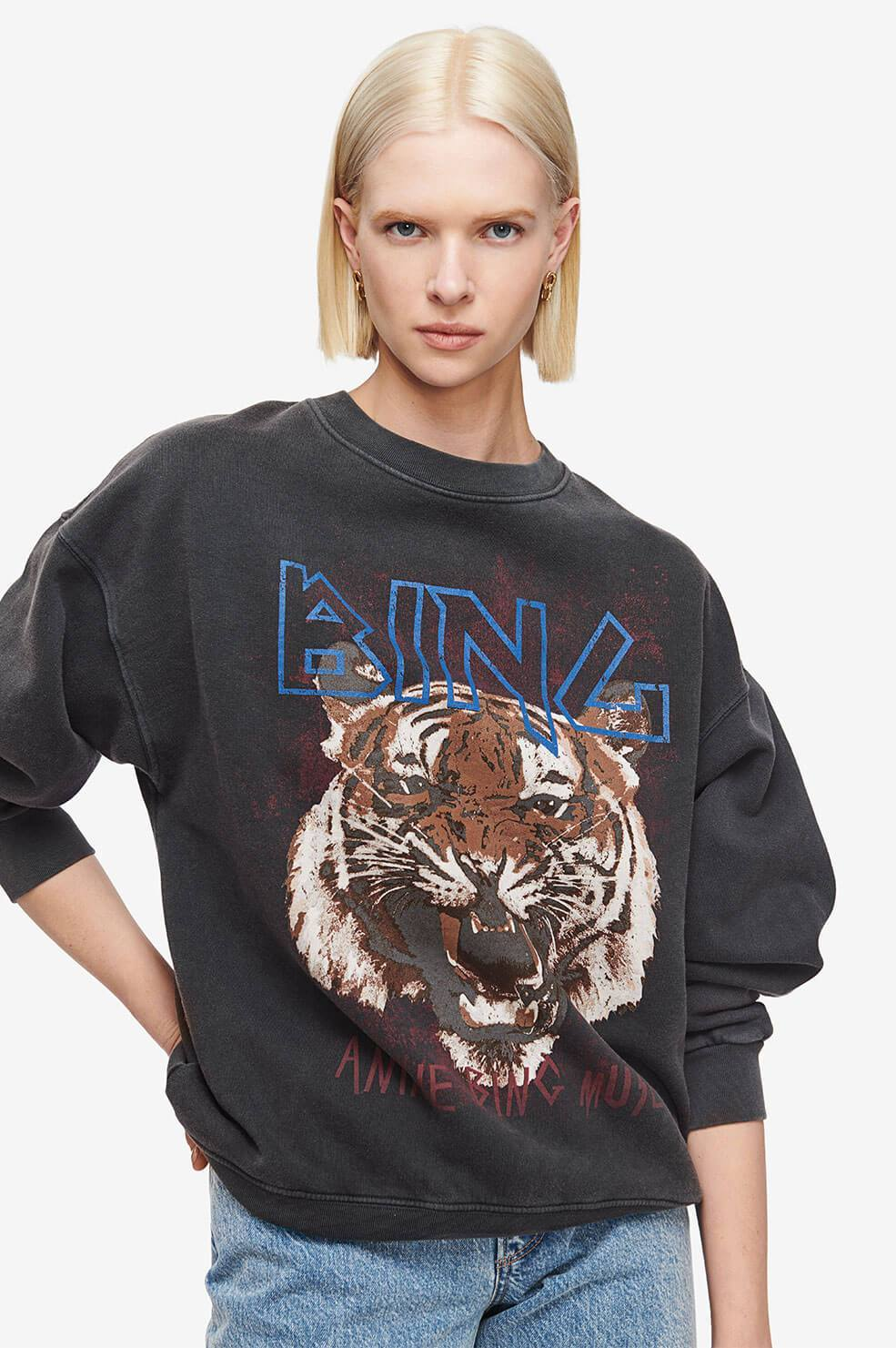 Anine Bing Womens Tops Anine Bing | Tiger Sweatshirt - Black