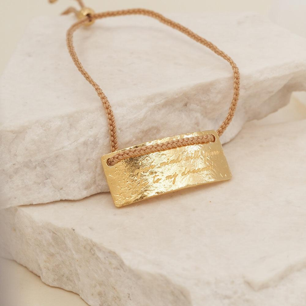 By Charlotte Jewellery GOLD By Charlotte | Aquarius Cord Zodiac Bracelet - Gold