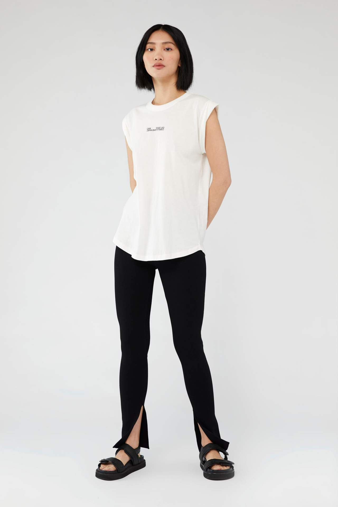 Camilla and Marc Womens Tops C&M | Cadiz Logo Tank - White