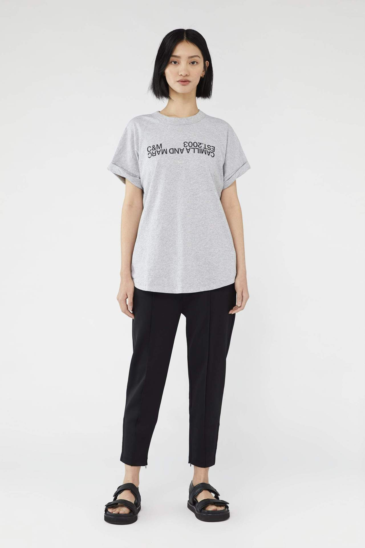 Camilla and Marc Womens T Shirt C&M | Huntington 2.0 Tee - Grey with Black