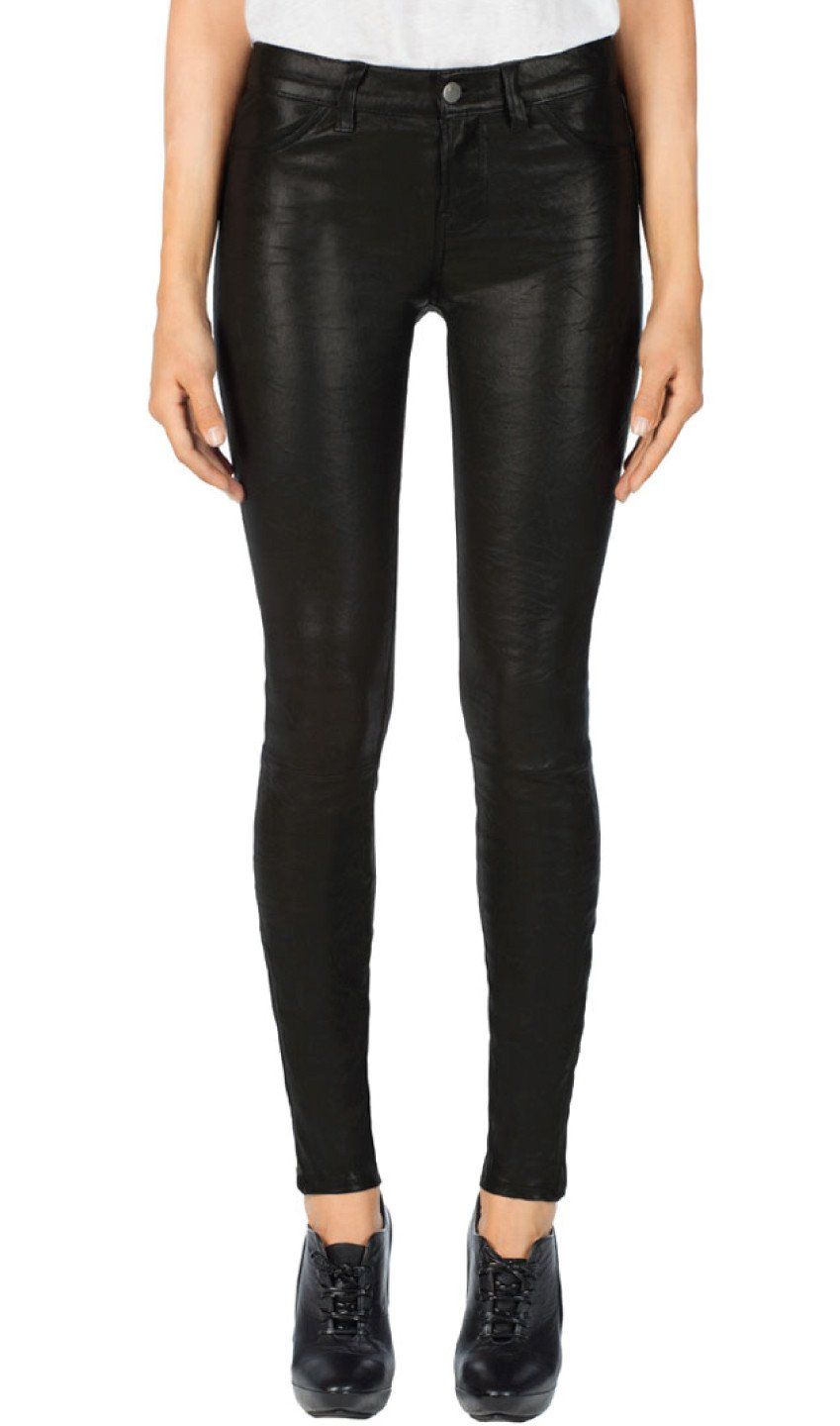 Edwards Imports Ltd Womens Pants NOIR / 24 J Brand | Super Skinny Leather Pant