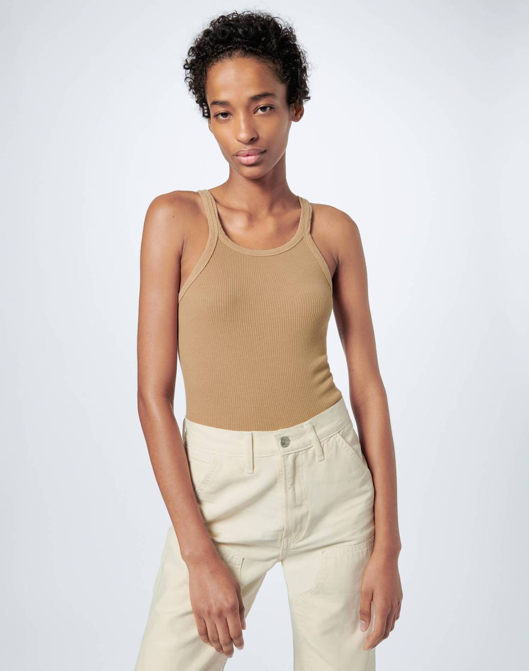Re Done Womens Singlet RE/DONE | Ribbed Tank - Sand