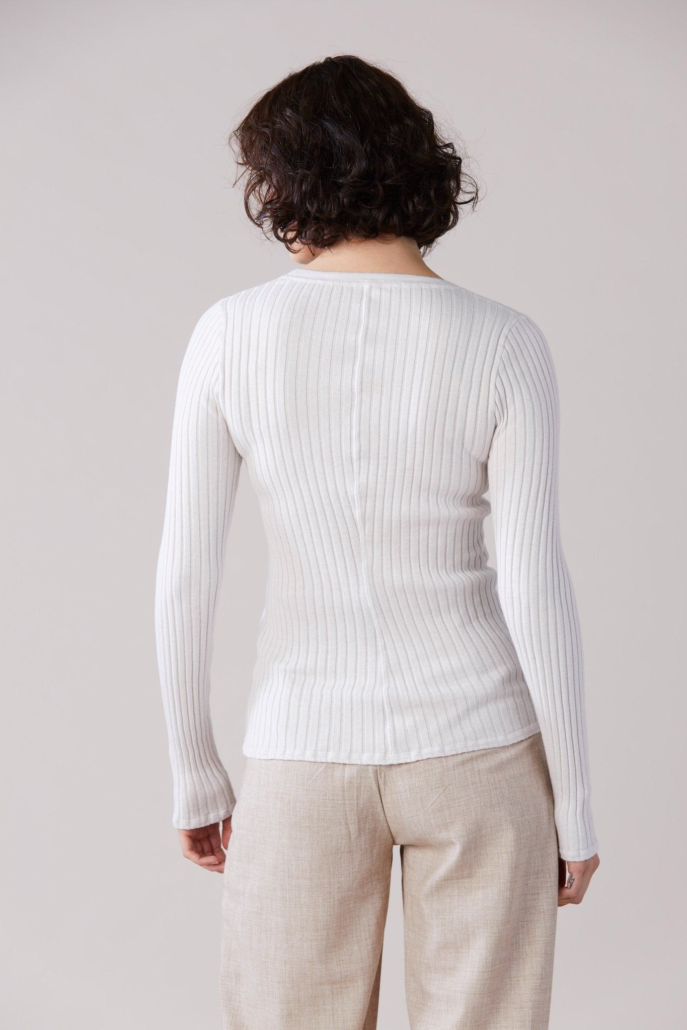 LAING Womens Tops Laing Home | Izzy Ribbed Crew - Chalk