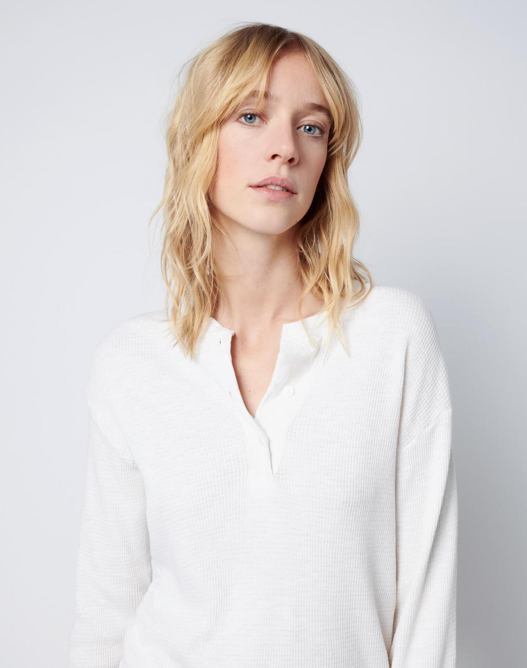 Re Done Womens Tops RE/DONE | Henley Thermal Long Sleeve - Vintage White