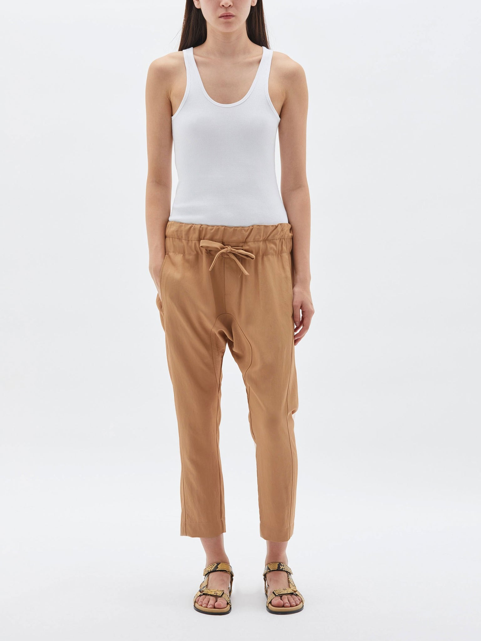Bassike Womens Pants Bassike | Triacetate Relaxed Pant - Ochre