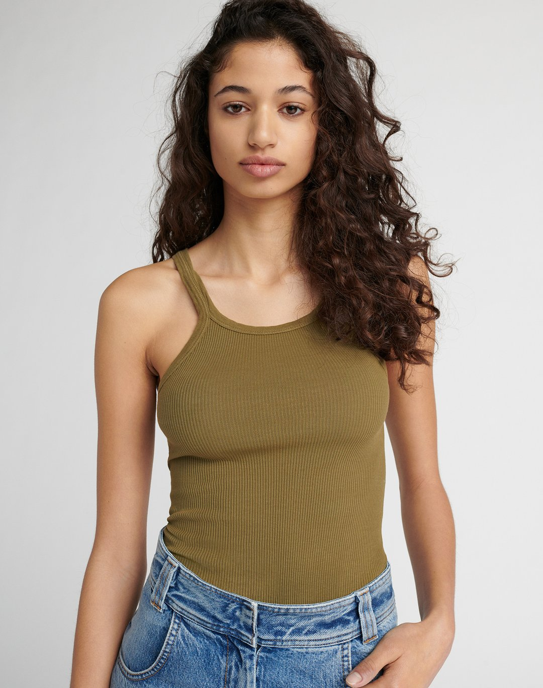 Re Done Womens Singlet RE/DONE | Ribbed Tank - Army Green