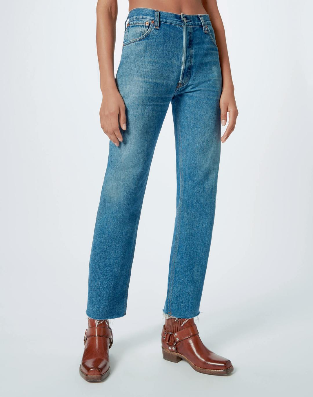 Re Done Womens Jeans RE/DONE | High Rise Stove Pipe - Indigo