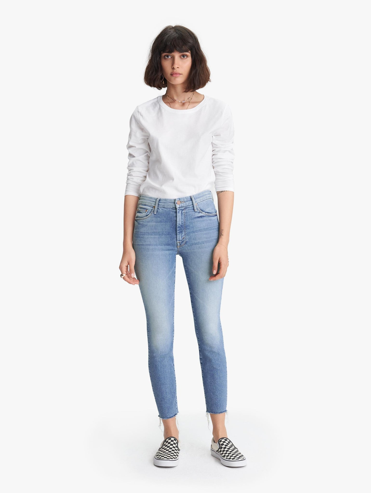 Edwards Imports Ltd Womens Jeans Mother Denim | High Rise Looker Ankle Fray - Shoot to Thrill