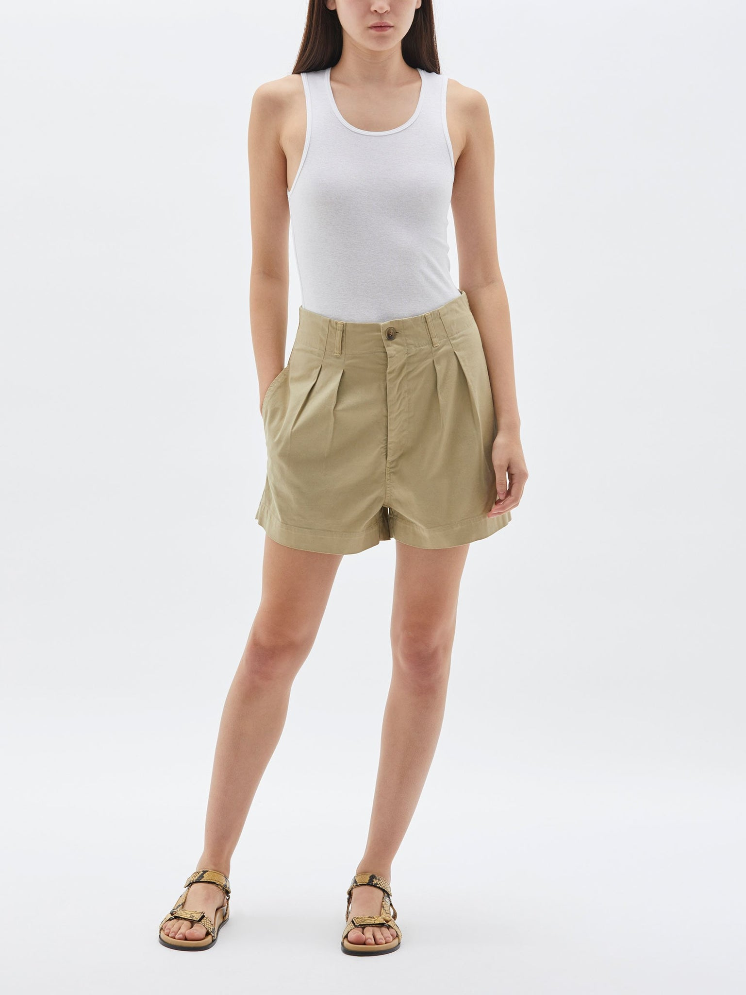 Bassike Womens Shorts Bassike | Workwear Mini Short - Tan