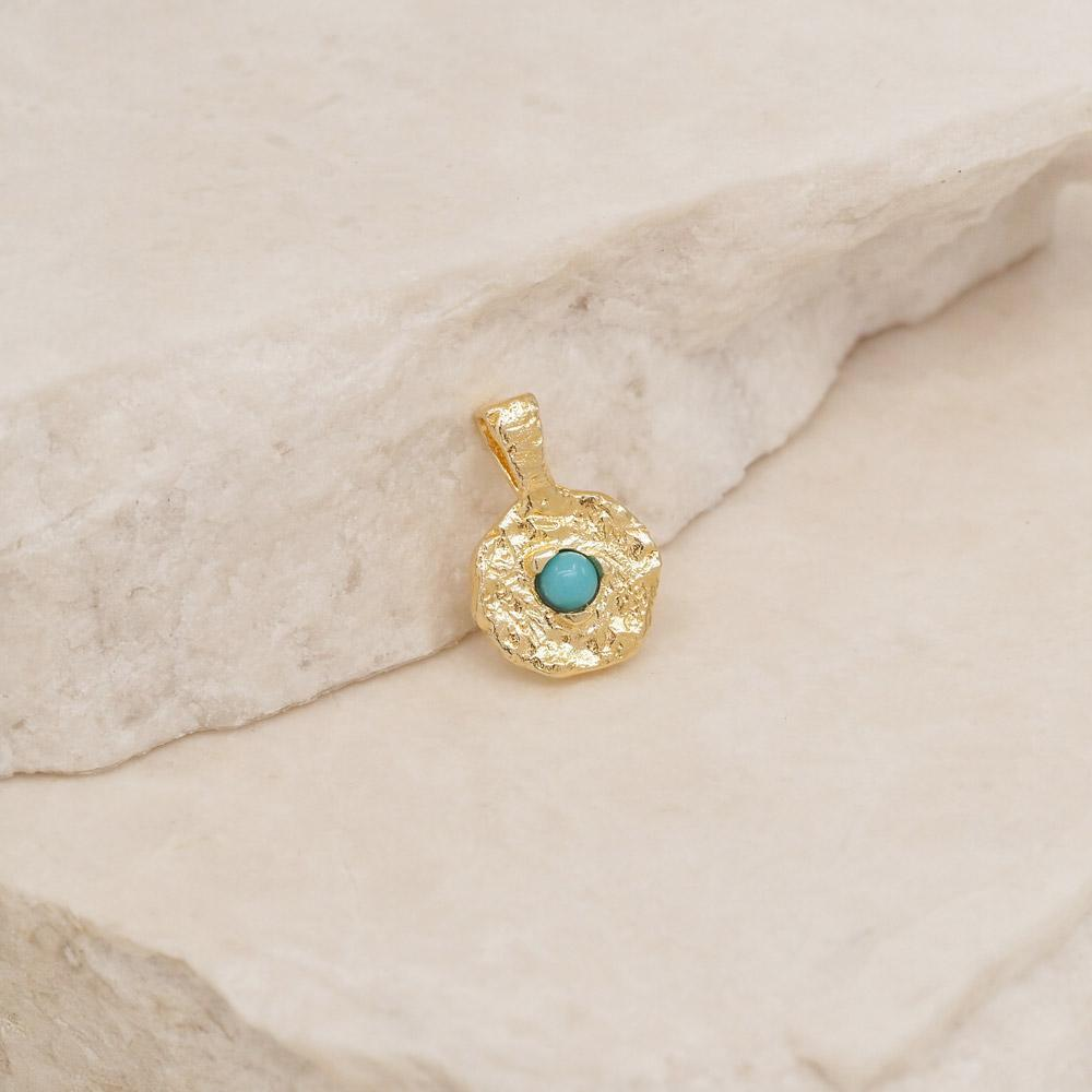 By Charlotte Jewellery GOLD By Charlotte | December Turquoise Birthstone Pendant - Gold