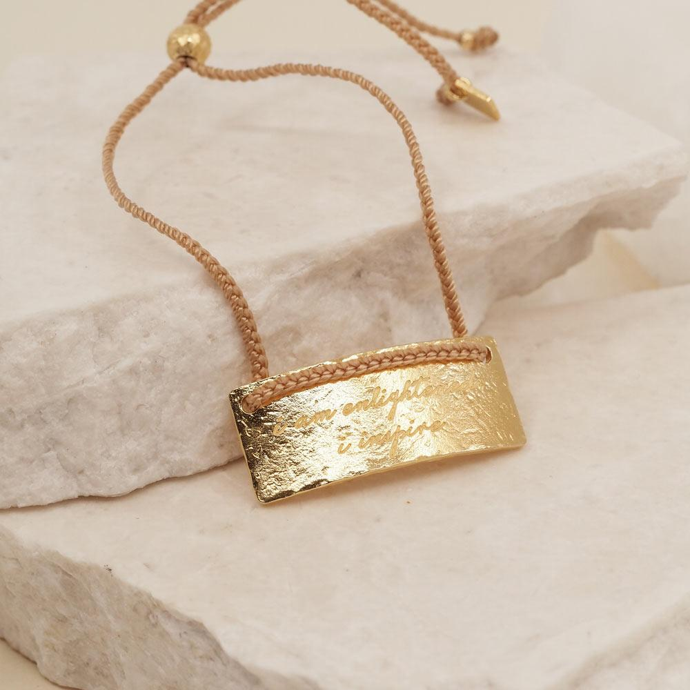By Charlotte Jewellery GOLD By Charlotte | Sagittarius Cord Zodiac Bracelet - Gold