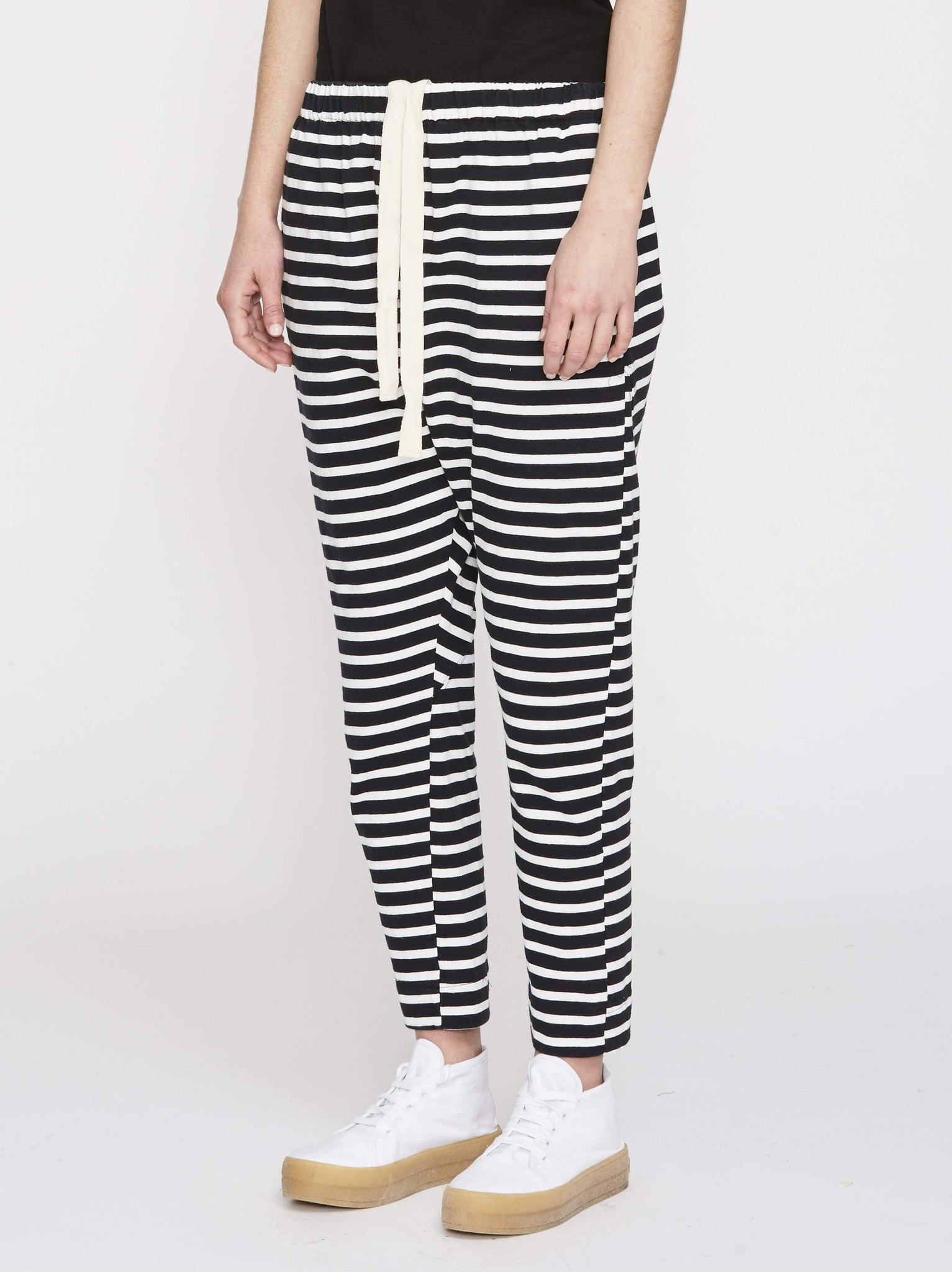 Bassike Womens Pants BLK/WHT / XS Bassike | Striped Rugby Panelled Pant - Black/White