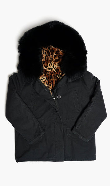 Yves Salomon Womens Coat BLKPNTHR / 32 Yves Salomon | Cotton Rabbit Fox Coat - Black Panther