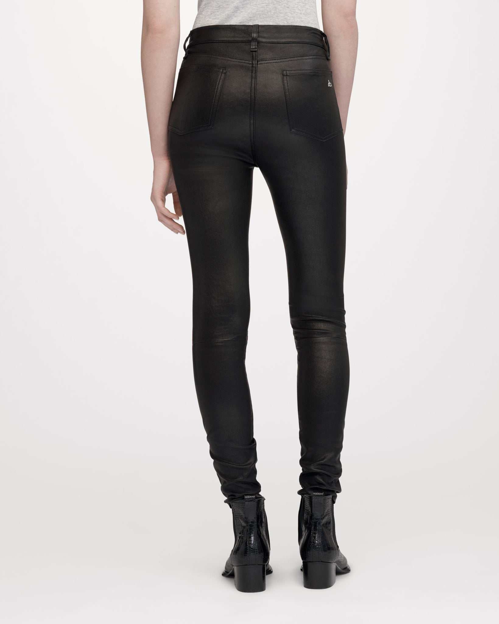 Rag & Bone Womens Pants BLACKLEATHER / 24 Rag & Bone | High Rise Skinny - Black Leather