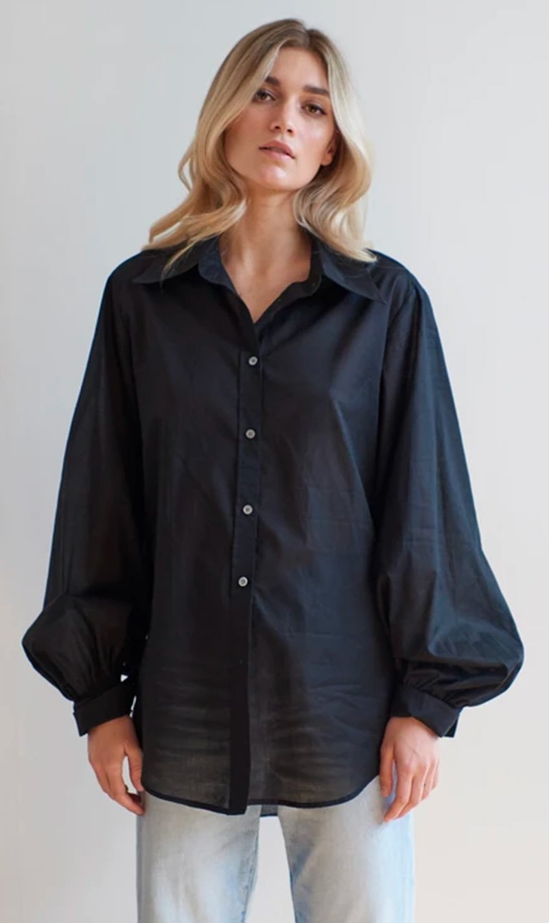 Mahsa Limited Womens Tops Mahsa | Billow Sleeve Shirt - Cotton Black