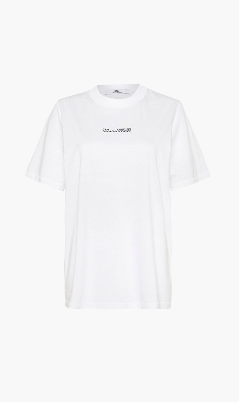 Camilla and Marc Womens T Shirt C&M | Blair Logo Tee - White
