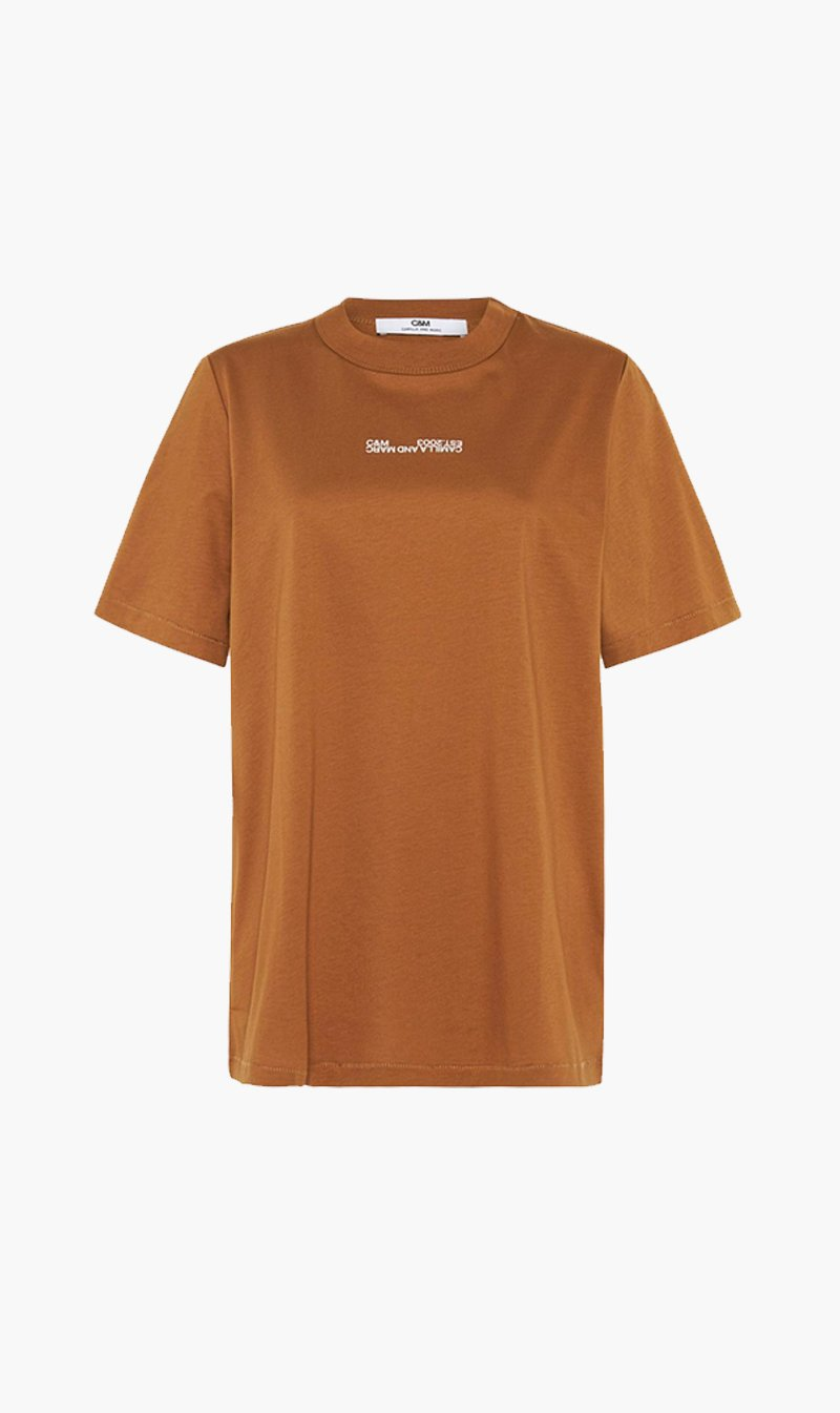 Camilla and Marc Womens T Shirt C&M | Blair Logo Tee - Tan