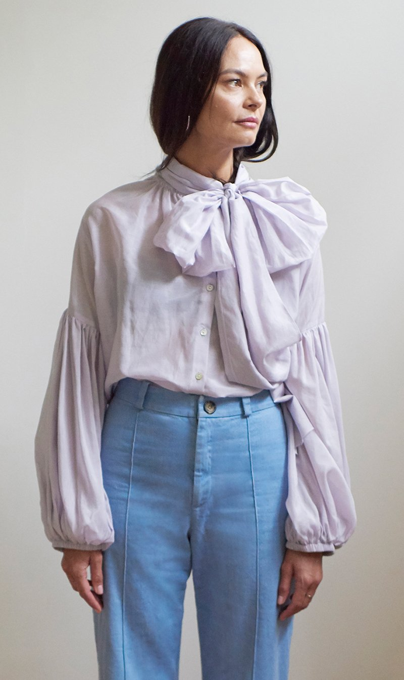 Mahsa Limited Womens Tops Mahsa | Bow Blouse - Washed Lilac