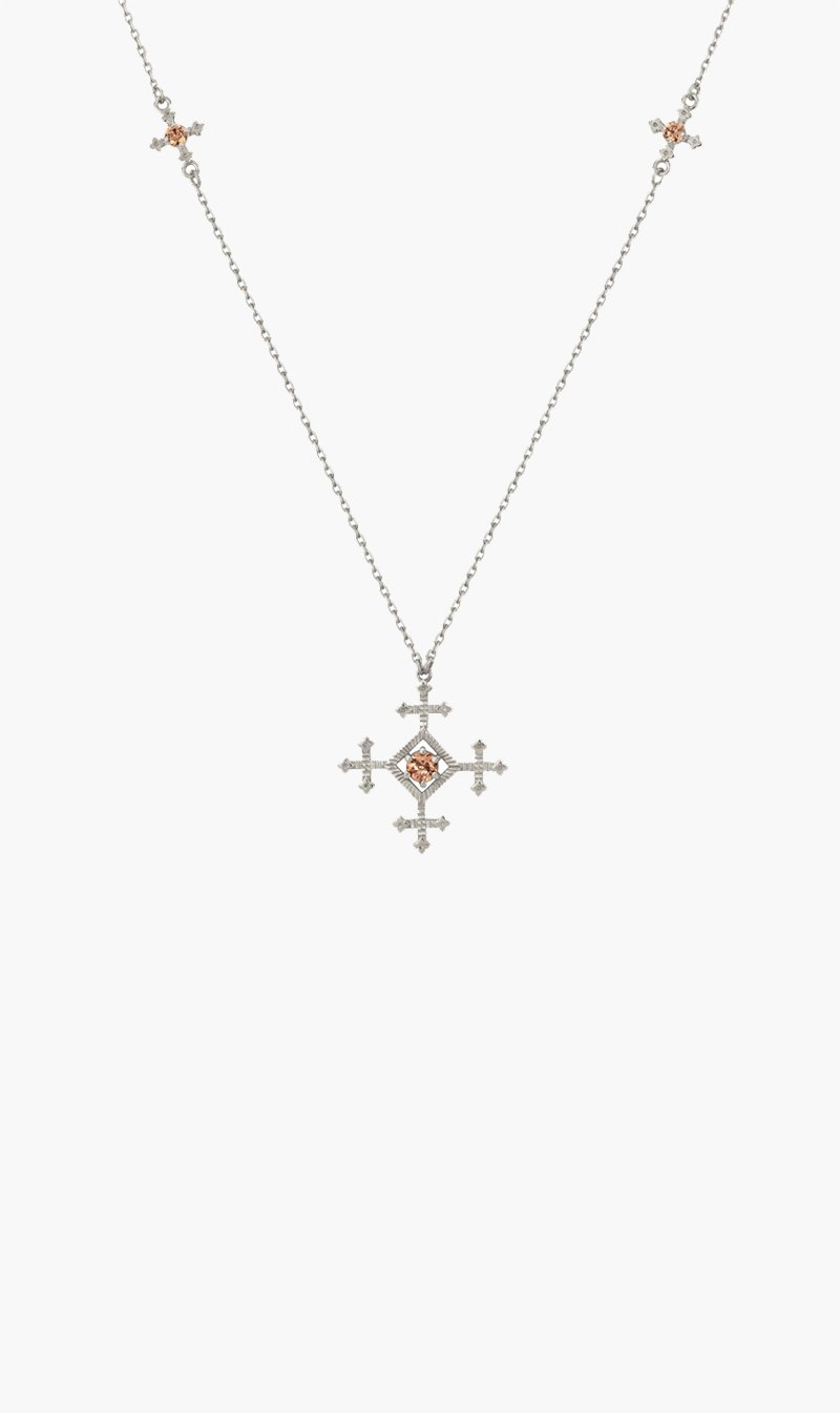 Zoe & Morgan Jewellery SILVER / BRWNZIR Zoe and Morgan | Sura Necklace - Silver / Brown Zirconia