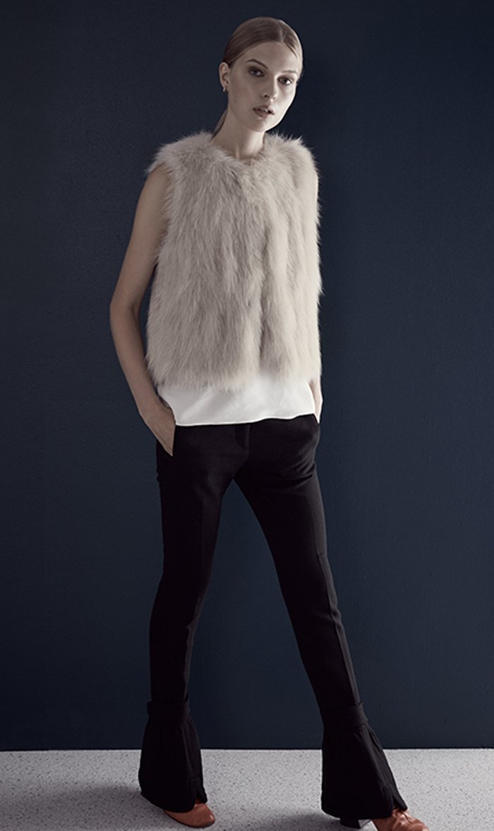 H Brand Womens Jacket CHALK / S/M H Brand | Celine Fox Vest - Chalk