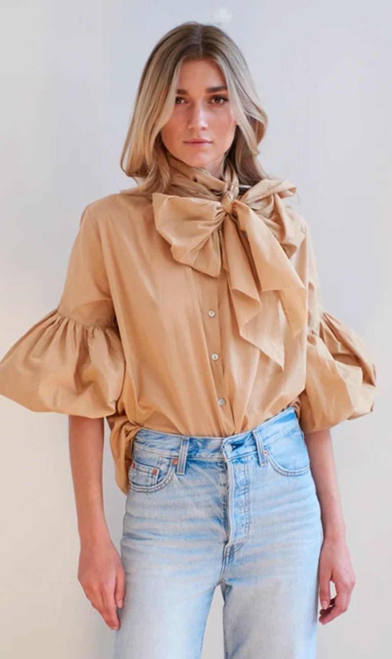 Mahsa Limited Womens Tops Mahsa | Bow Blouse - Cotton Camel