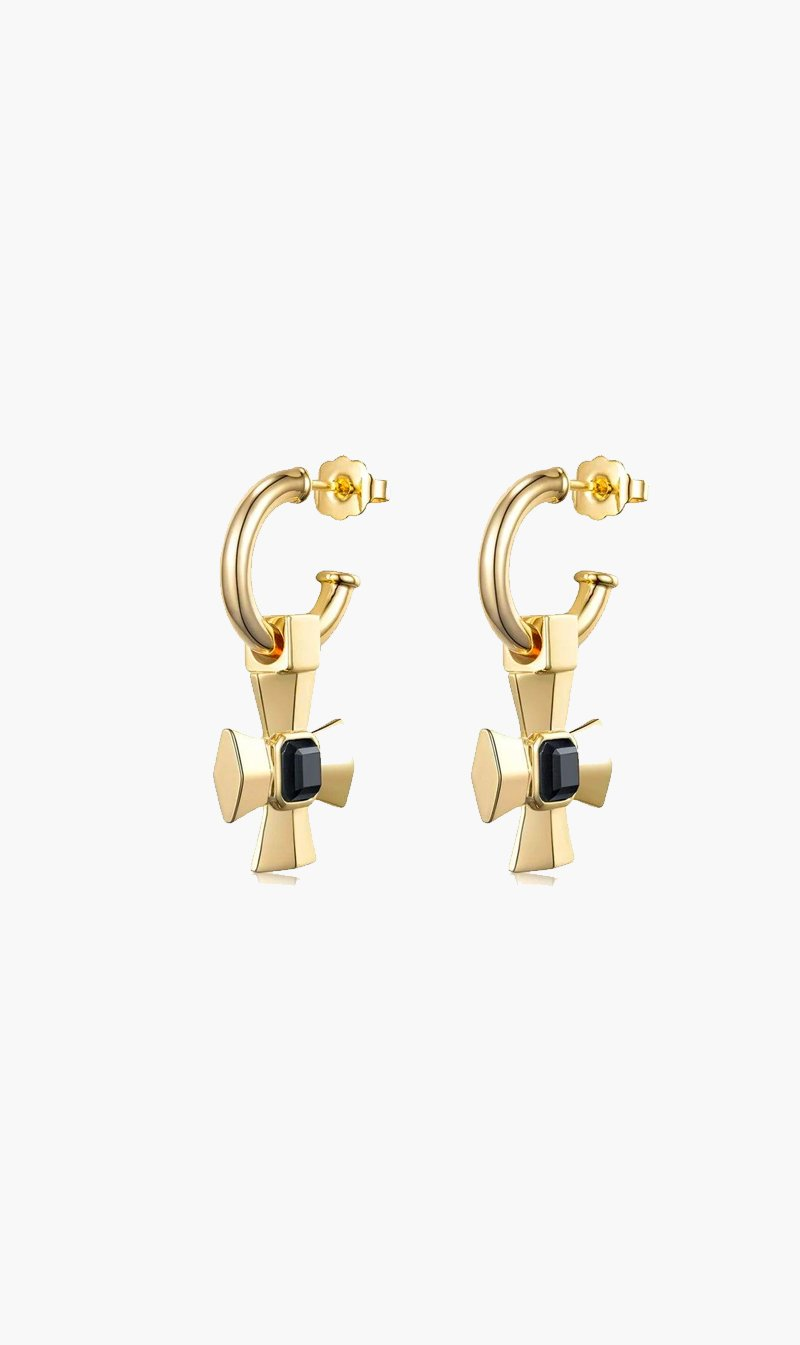 F+H JEWELLERY Jewellery GOLD / ONYX F+H | Lemmy Cross Earring - Gold