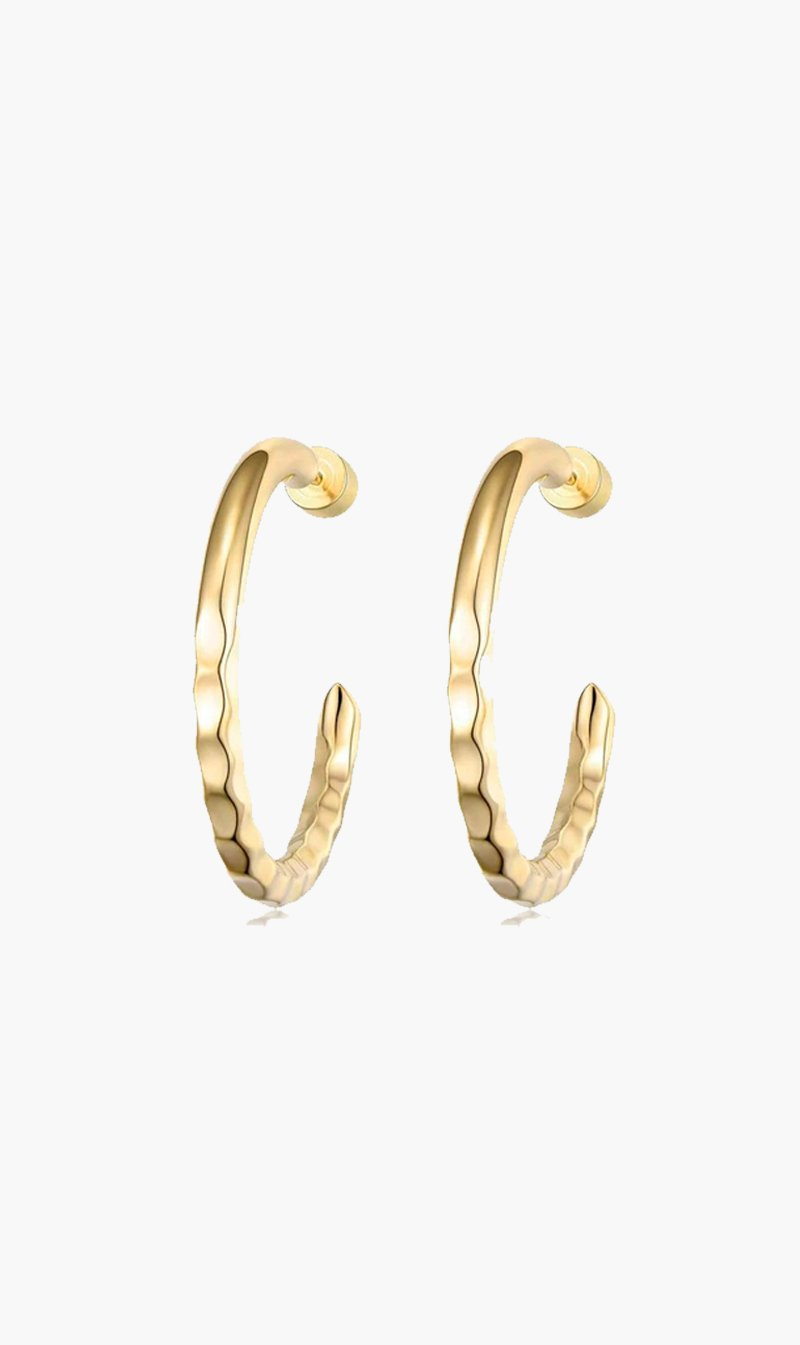 F+H JEWELLERY Jewellery GOLD F+H | Nailed It Hammered Hoops Gold - Small