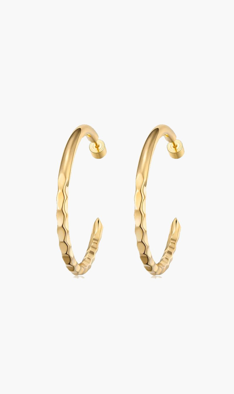 F+H JEWELLERY Jewellery GOLD F+H | Nailed It Hammered Hoops Large - Gold