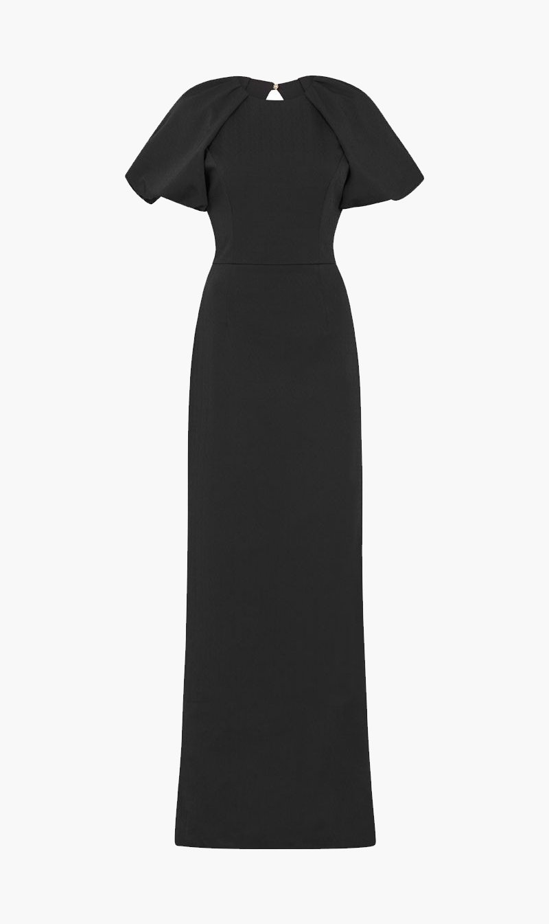 Rebecca Vallance Pty Ltd Womens Dress Rebecca Vallance | Winslow Short Sleeve Gown - Black