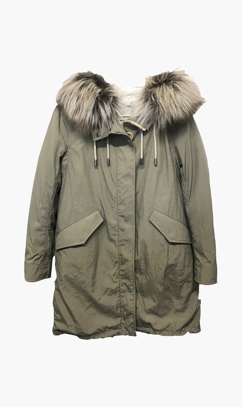 Yves Salomon Womens Coat Yves Salomon | Long Fox Parka - Mojave/Iceberg