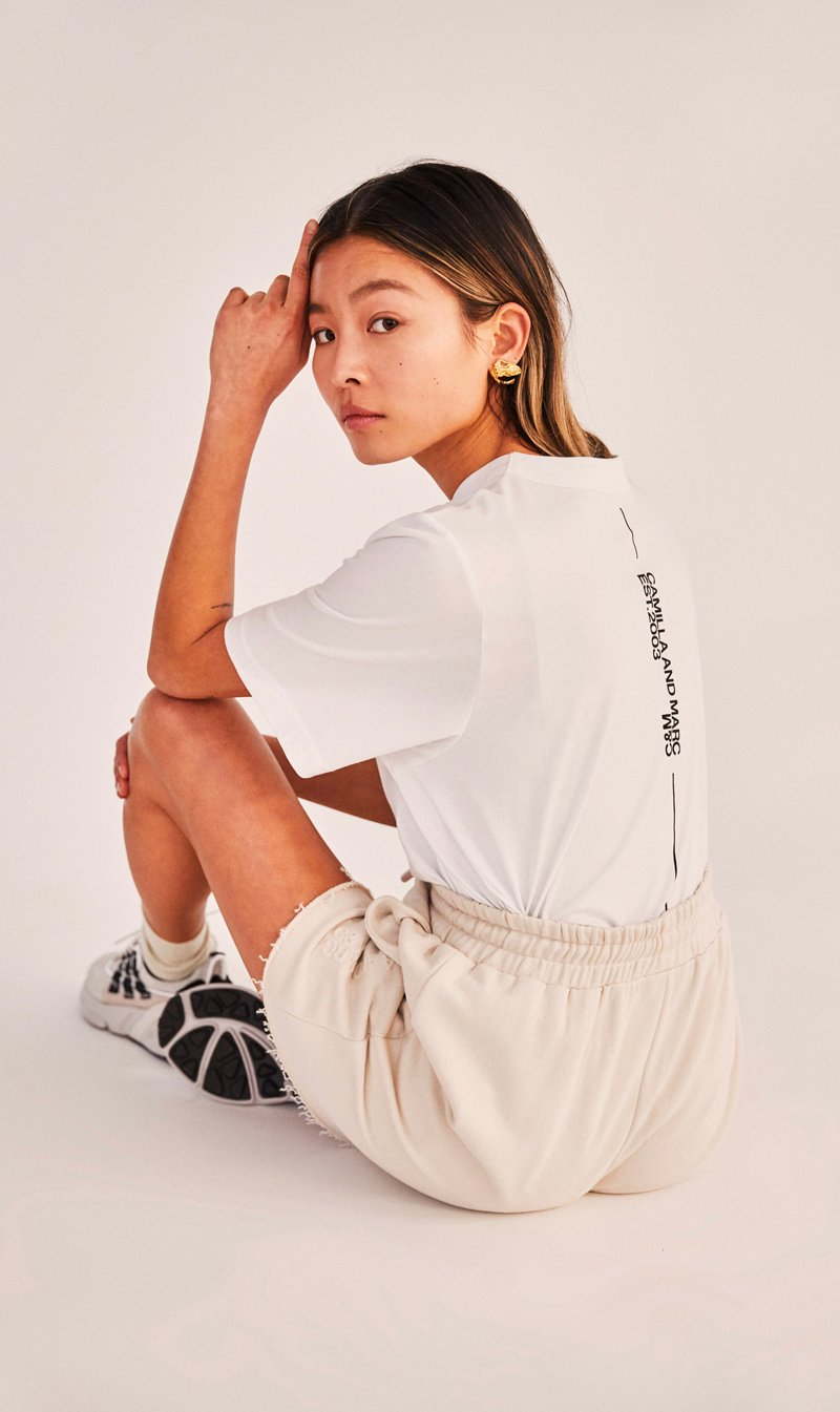 Camilla and Marc Womens T Shirt C&M | Maynard Logo Tee - White