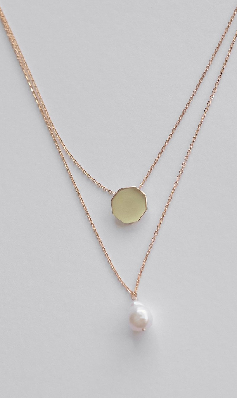 Natasha Schweitzer Jewellery YLWGLD Natasha Scweitzer | Double Chain Baroque Pearl Necklace - Gold