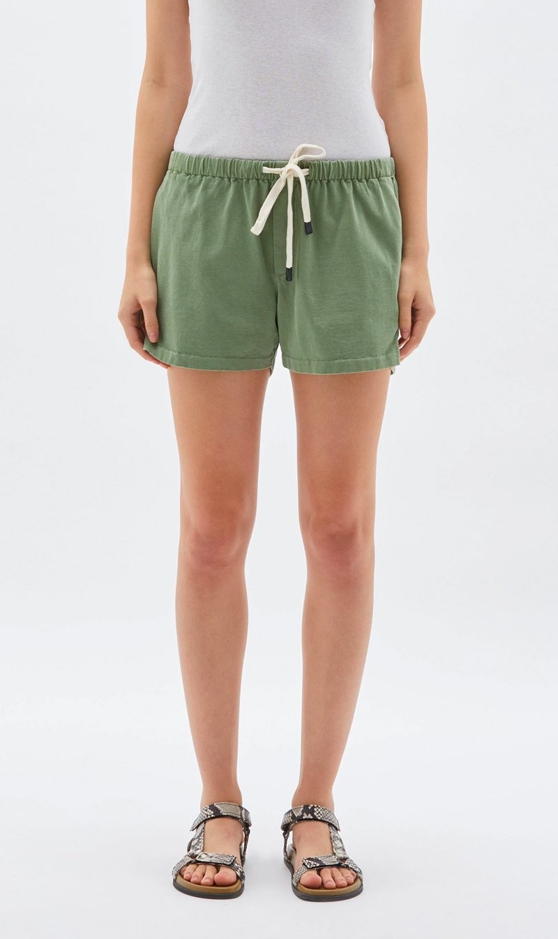 Bassike Womens Shorts Bassike | Double Jersey Beach Short - Olive Leaf