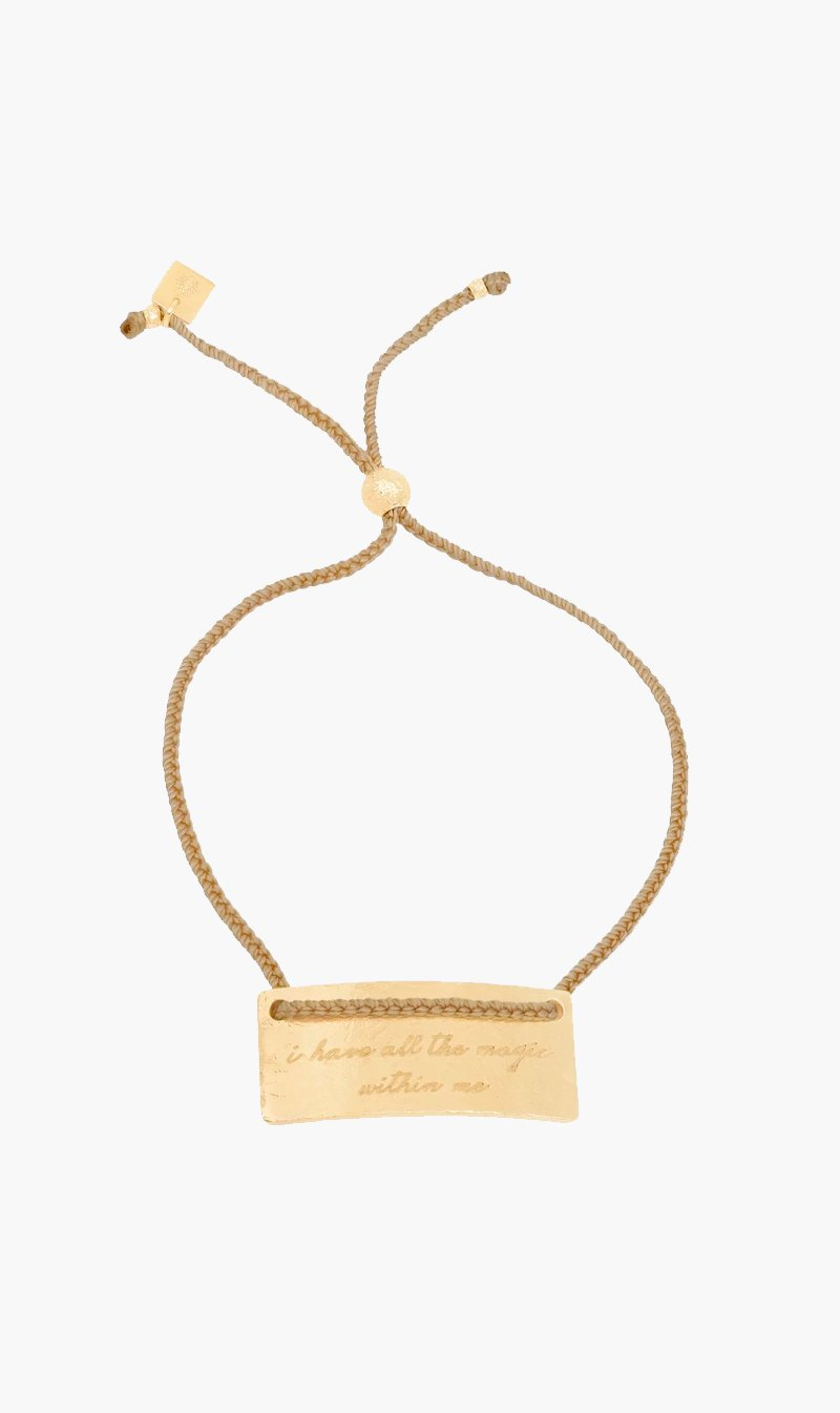 By Charlotte Jewellery GOLD By Charlotte | Pisces Cord Zodiac Bracelet - Gold