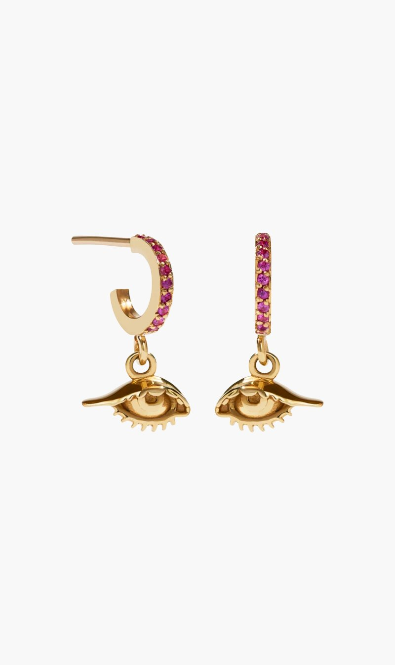 Meadowlark Jewellery 9CTYLWGLD / PNKSAP Meadowlark | Proteger Pave Hoops - Pink Sapphire