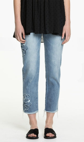 Remain | Embroidered Jem Jean - Vintage Blue