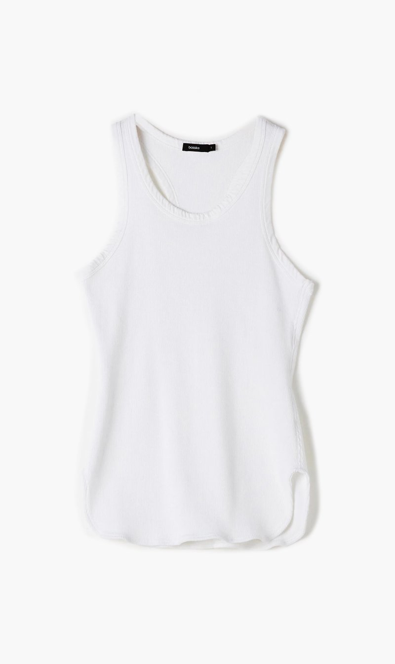 Bassike Womens Singlet Bassike | Athletic Rib Tank - White