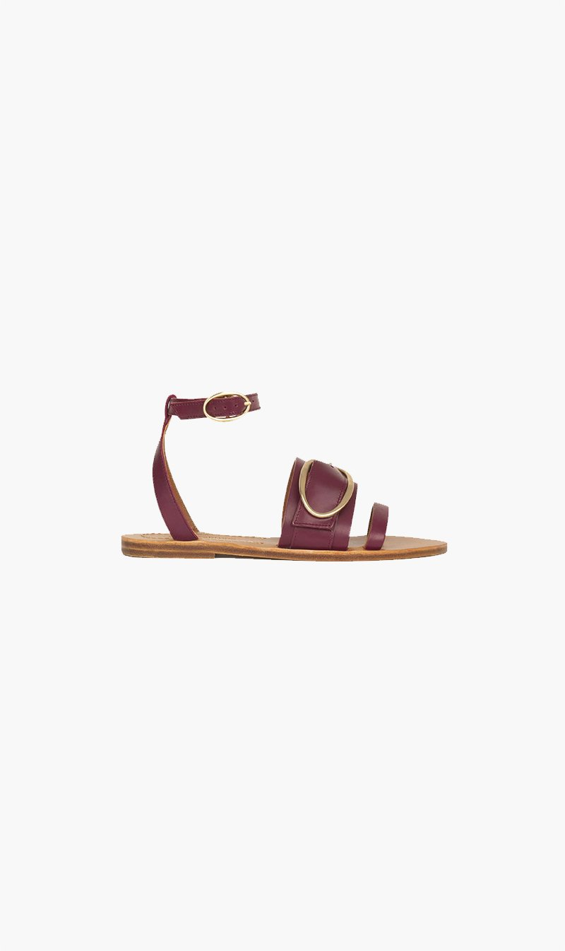 Vanessa Bruno SHOE Vanessa Bruno | Flat Leather Sandals - Burgundy