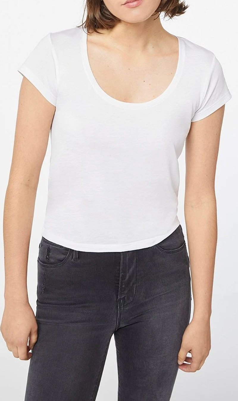 Edwards Imports Ltd Womens Tops Frame Denim | Le Scoop High Rise Tee - Blanc