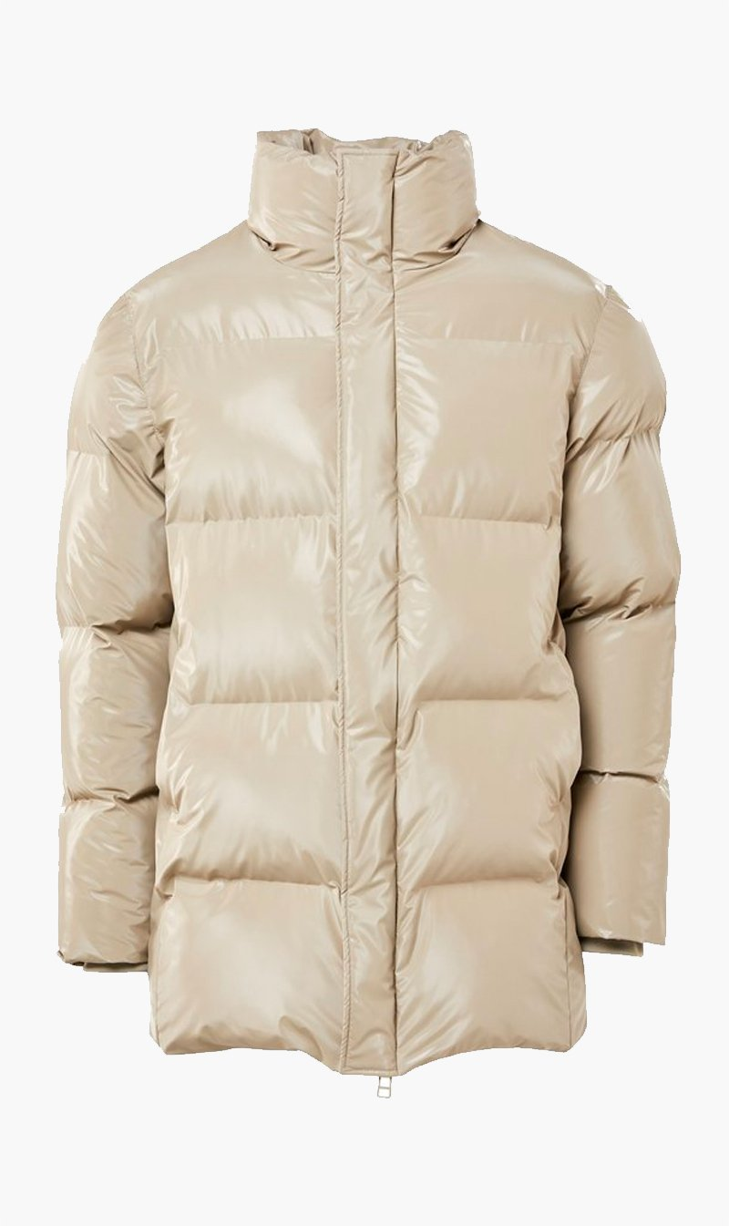 The Market Limited Womens Jacket Rains | Puffer Coat - Shiny Beige