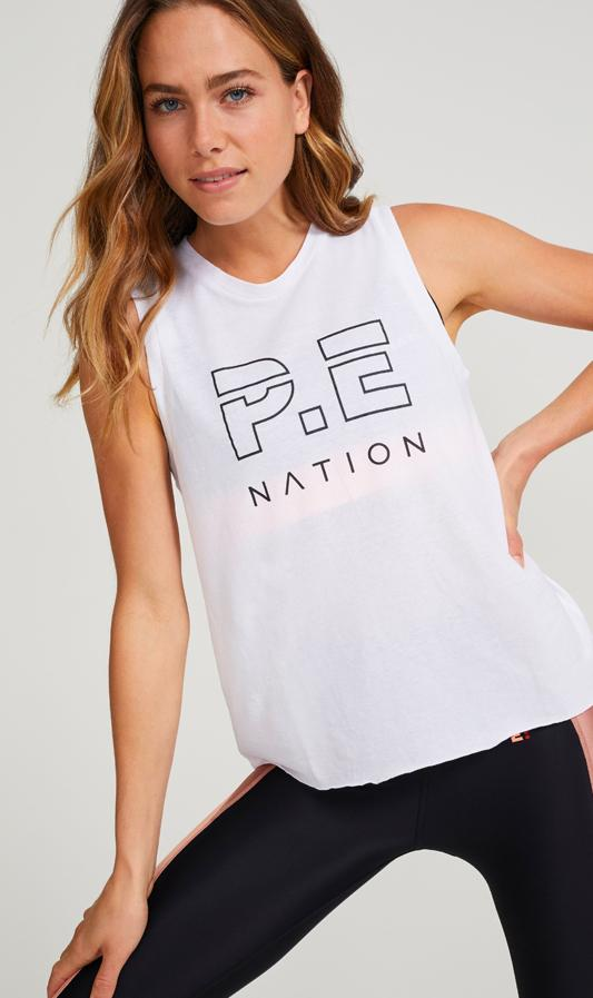 P.E NATION Activewear PE Nation | Shuffle High Twist Tank - White