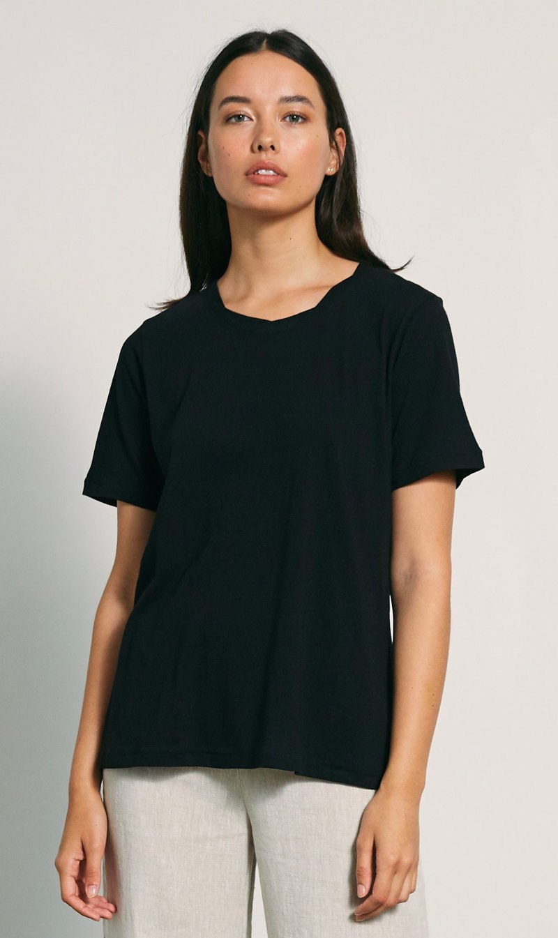The Market Limited Womens T Shirt Marle | Simple Tee - Black