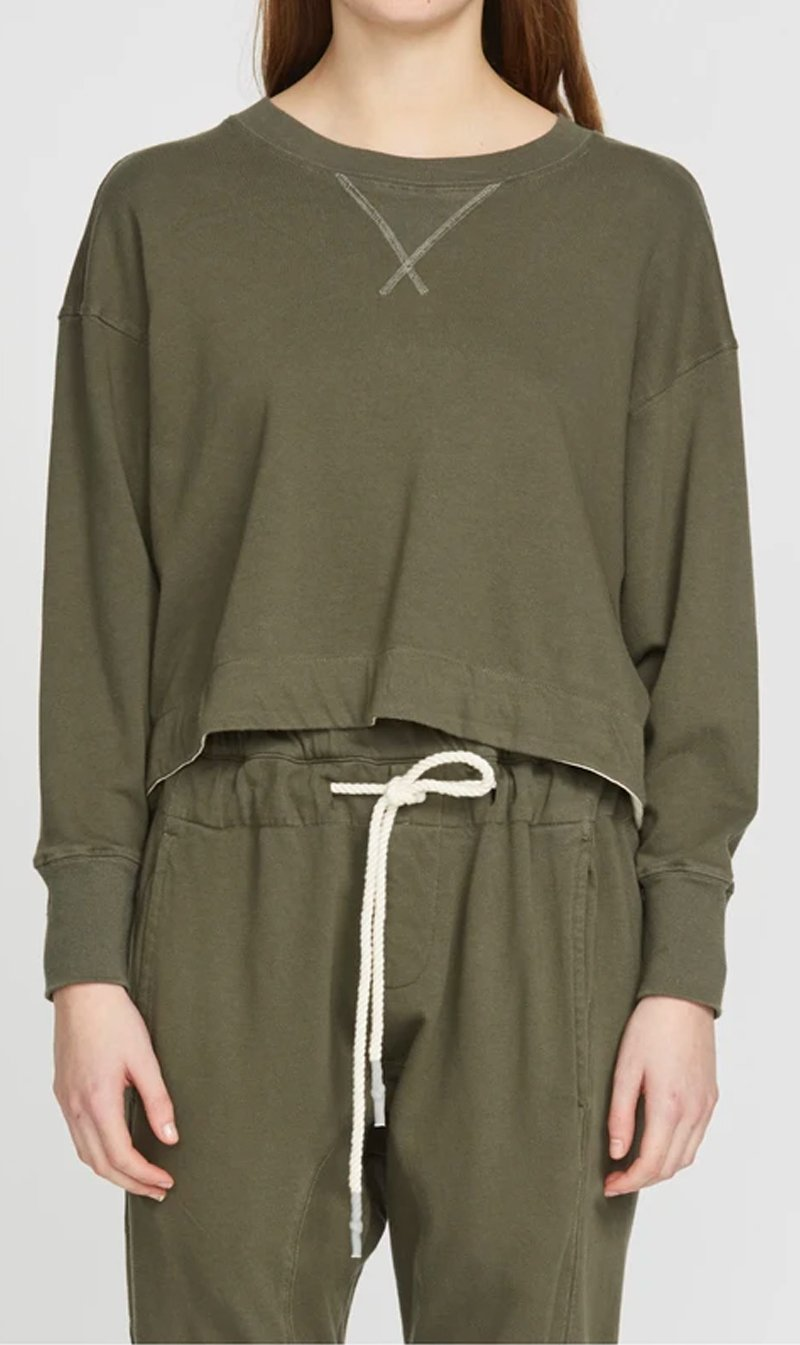 Bassike Womens Tops Bassike | Tie Back Detail French Terry Sweat - Forest