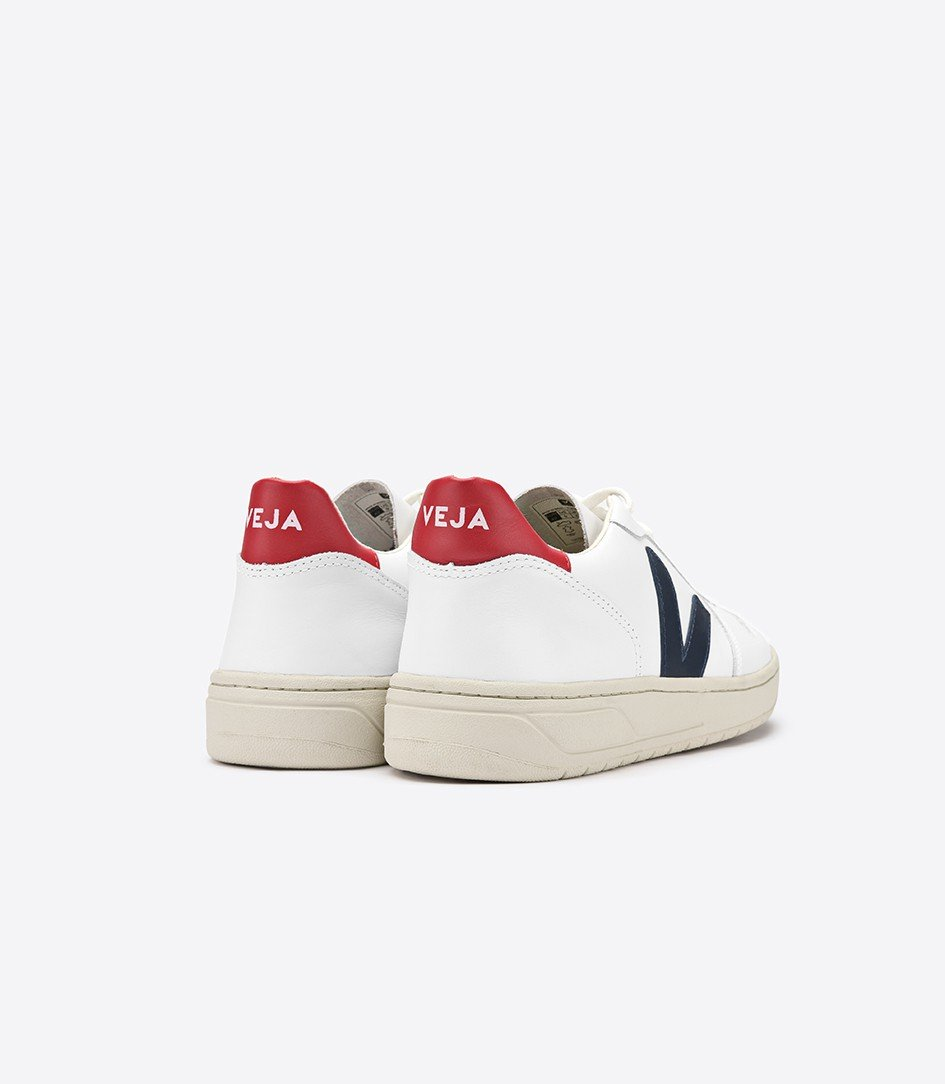 Good As Gold Distribution SHOE Veja | V10 Leather Sneakers - White/Nautico/Pekin