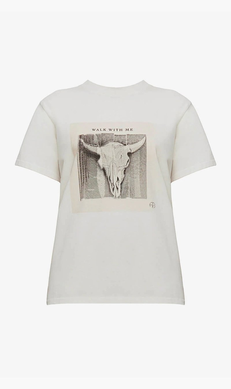 Anine Bing Womens T Shirt Anine Bing | Lili Tee Walk With Me - Ivory