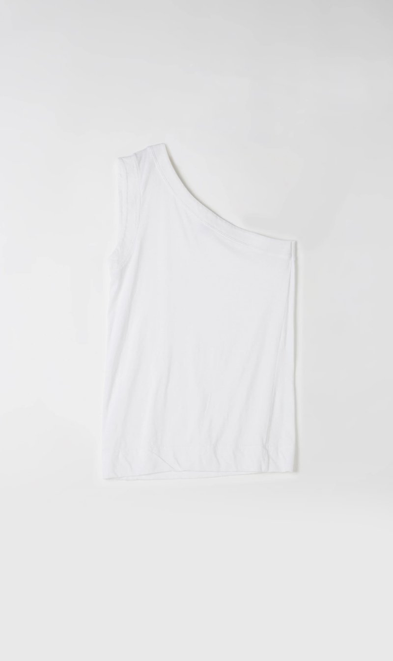 Bassike Womens Singlet Bassike | One Shoulder Wide Jersey Tank - White