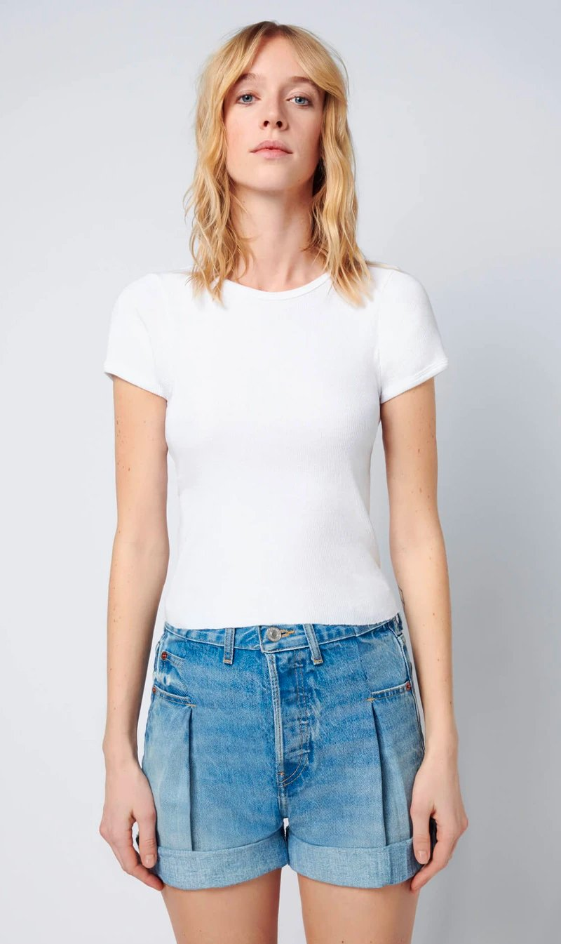 Re Done Womens T Shirt RE/DONE | 90's Ribbed Cap Sleeve Tee - White
