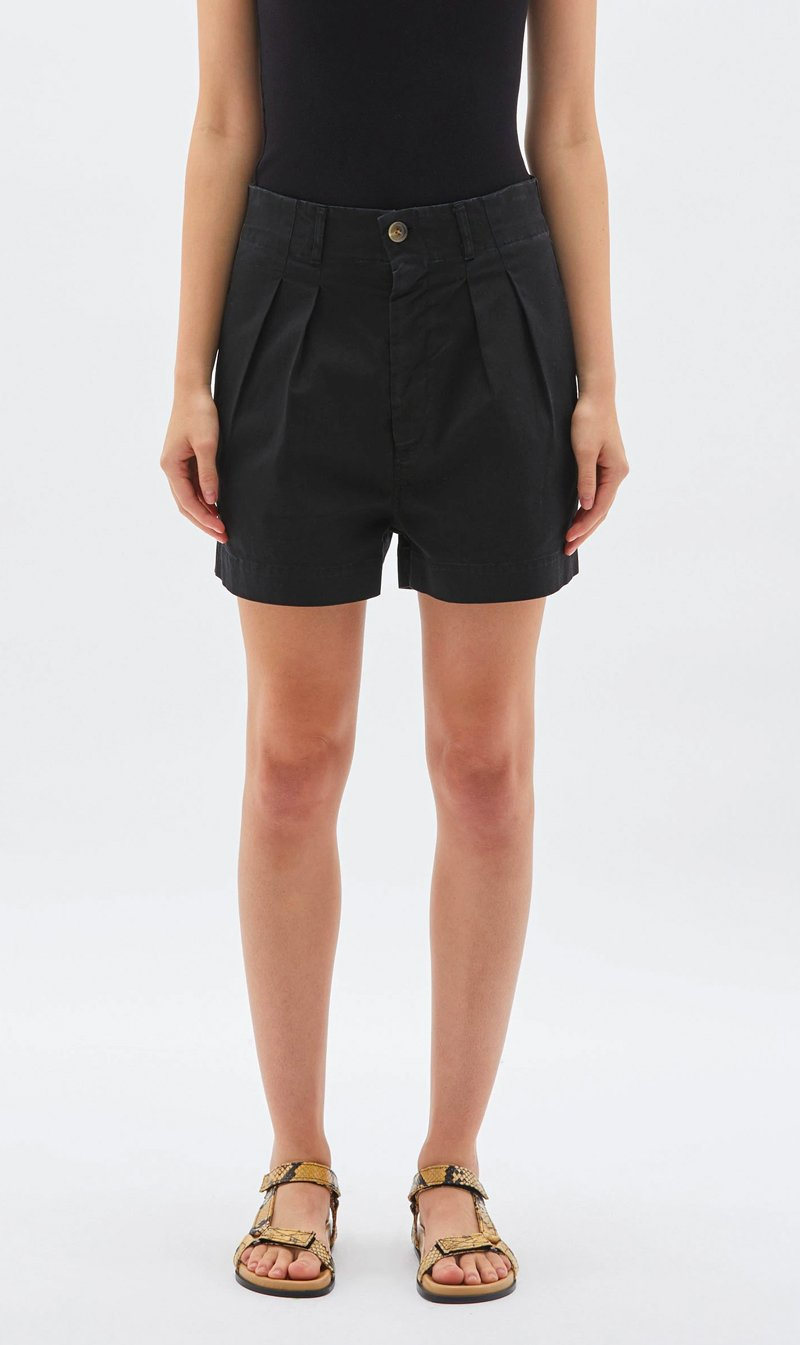 Bassike Womens Shorts Bassike | Workwear Mini Short - Black