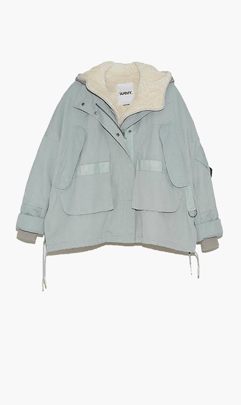 Yves Salomon Womens Jacket Yves Salomon | Cotton Lamb Parka - Mercury/Limestone