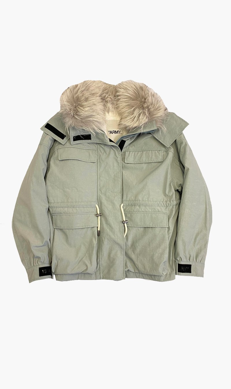 Yves Salomon Womens Coat Yves Salomon | Short Fox Parka - Mercury/Platunium